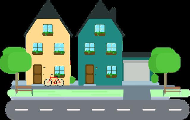 ilustrace rodinných domů s garáží