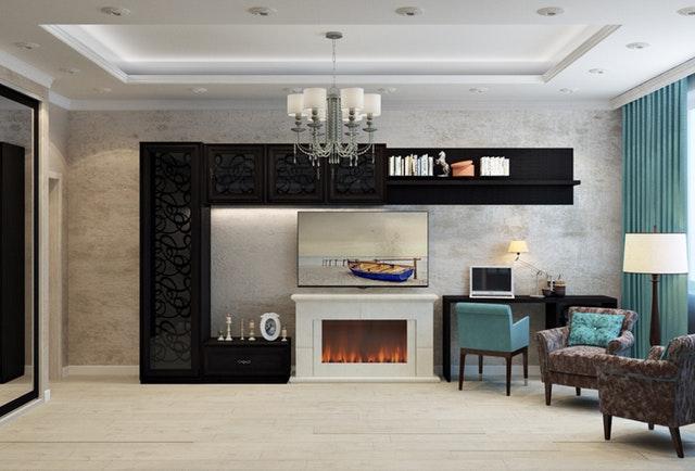 luxusní černá obývací stěna